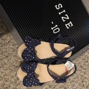 Gymboree Navy Dot Bow Wedge Sandals Size 10